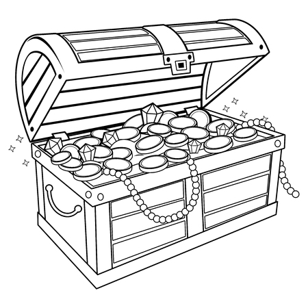 Treasure chest. Black and white coloring book page