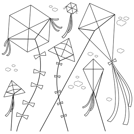 Kites flying in the sky. Vector black and white coloring book page