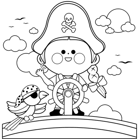 Pirate girl captain sailing on ship with steering wheel. Black and white coloring book page