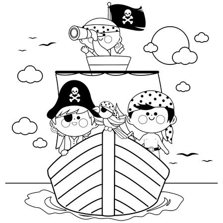 Pirates naviguant sur un navire à la mer. Page de livre de coloriage noir et blanc