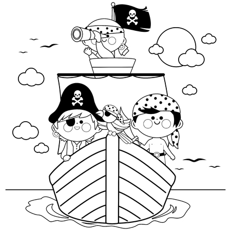 Pirates sailing on a ship at the sea. Black and white coloring book page Vectores
