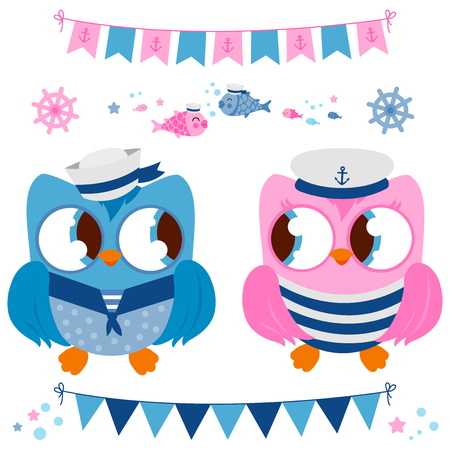 Cute vector nautical set with sailor owl birds. Vector illustration.