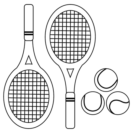 Tennis rackets and balls. Vector black and white coloring book page