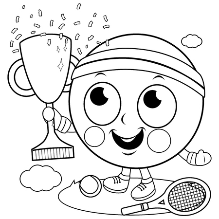 Tennis ball character champion cheering and holding a trophy. Vector black and white coloring book page