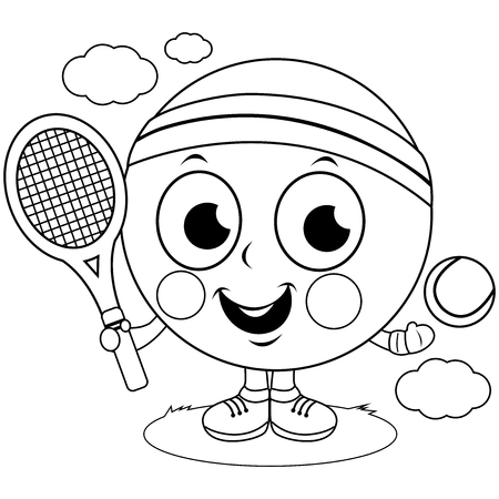 Tennis ball character playing tennis. Vector black and white coloring book page