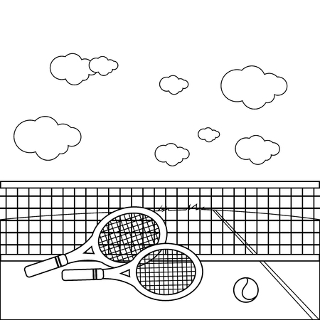 Rackets and tennis ball at the tennis court. Vector black and white coloring book page