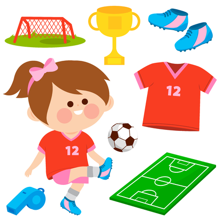 Little girl playing soccer. Vector collection