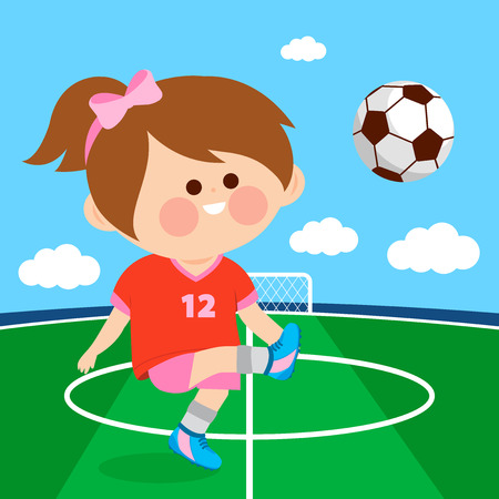 A happy girl plays football. Soccer player Illustration