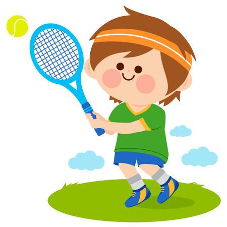 Boy playing tennis. Vector illustration