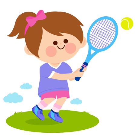 Girl playing tennis. Vector illustration