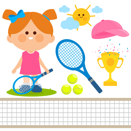 Tennis player girl. Vector illustration collection