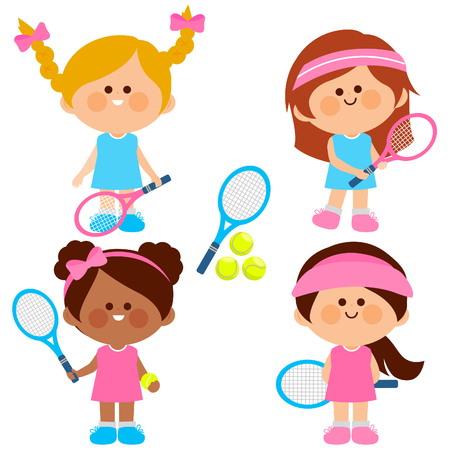 Group of girls tennis players. Vector illustration Stock Vector - 119454887