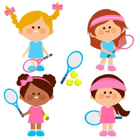 Group of girls tennis players. Vector illustration Illustration
