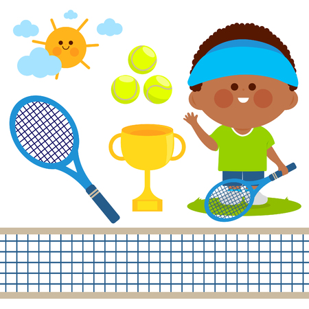 Tennis player boy. Vector illustration collection