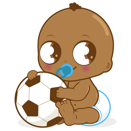 Cute African American baby boy holding a soccer ball.