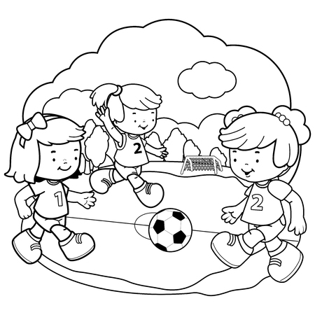 Girls playing soccer. Vector black and white coloring book page Stock Vector - 120311674