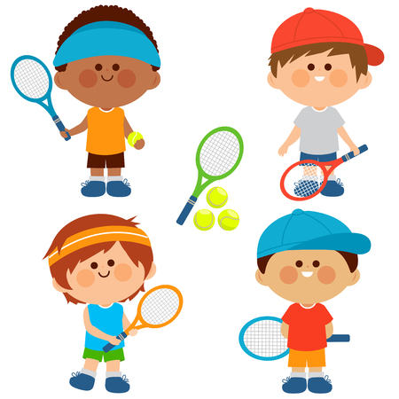 Group of boys tennis players. Vector illustration