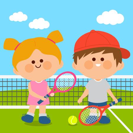 Children playing tennis. Vector illustration Stock Vector - 120311671