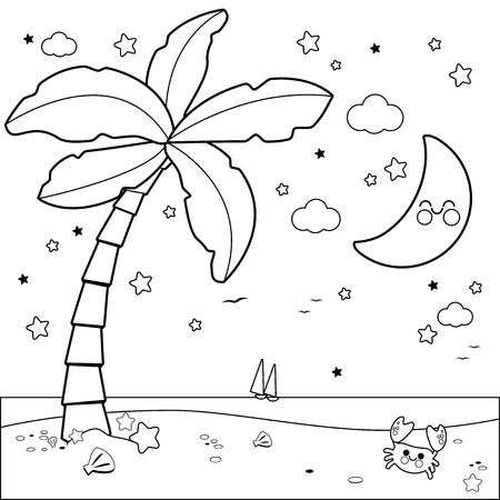Tropical beach with palm tree at night. Black and white coloring book page