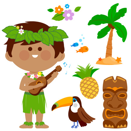 Vector illustration of a Hawaiian boy playing music with his guitar and other beach summer vacation design elements.