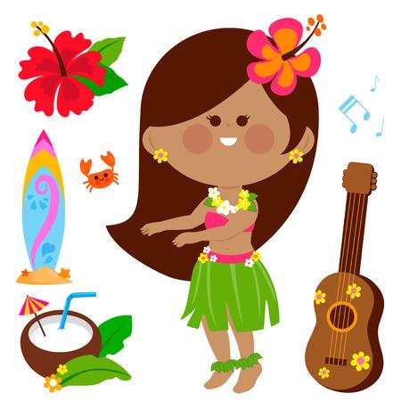 Colección de ilustraciones vectoriales de una bailarina de hula hawaiana y otros elementos de diseño de vacaciones de verano en la playa.