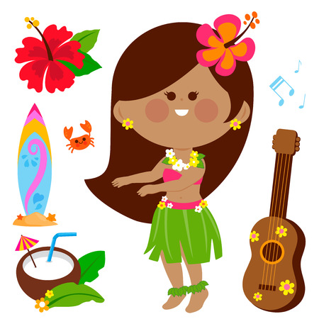 Vector illustration collection of a Hawaiian hula dancer girl and other beach summer vacation design elements. Stock Vector - 120311678