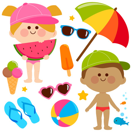 Children with swimsuits and hats. Beach summer vacation design elements. Illustration
