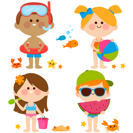 Boys and girls with swimsuits and beach summer vacation toys. Vector illustration set