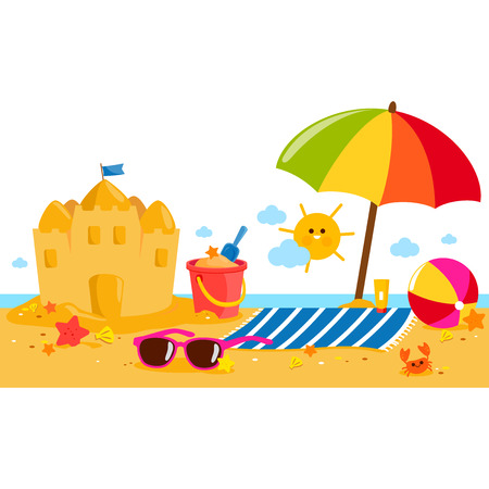 Summer vacation island banner with beach umbrella, towel, a sand castle and other beach toys.
