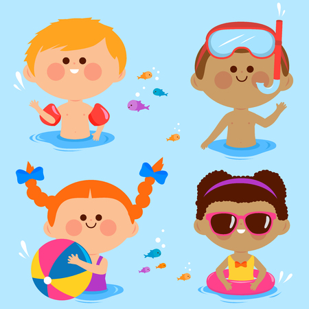 Children swimming. Vector collection