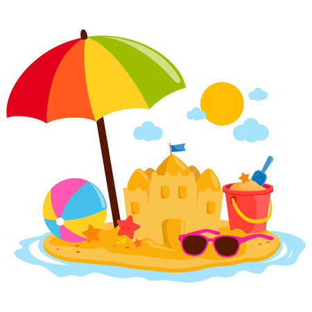 Summer vacation island with beach umbrella, a sand castle and other beach toys. Illustration