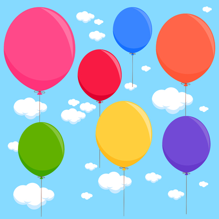 Colorful balloons flying in the sky. Vector illustration Illustration