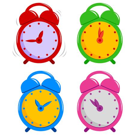 Vector set of colorful alarm clocks.