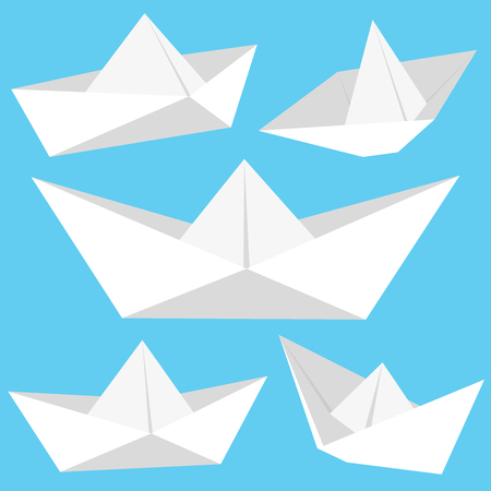 White origami paper boats collection. Vector illustration