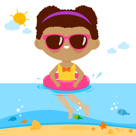 Girl with sunglasses and inflatable rubber ring swimming in the sea. Vector illustration.