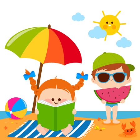 Children at the beach reading a book and eating a slice of watermelon under a beach umbrella. Illustration