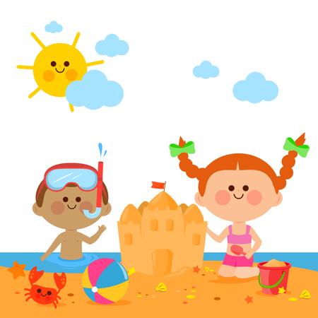 Bambini in spiaggia che nuotano e costruiscono un castello di sabbia Vettoriali