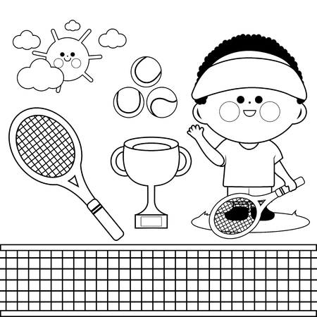 Tennis player boy. Vector black and white coloring book page