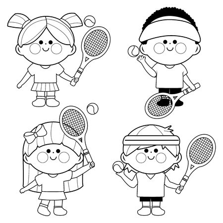 Kids playing tennis. Vector black and white coloring book page