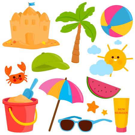 Beach summer vacation design elements. Vector illustration Stock Vector - 120661743