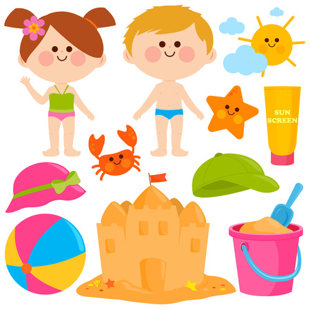 Children with swimsuits and beach summer vacation design elements.