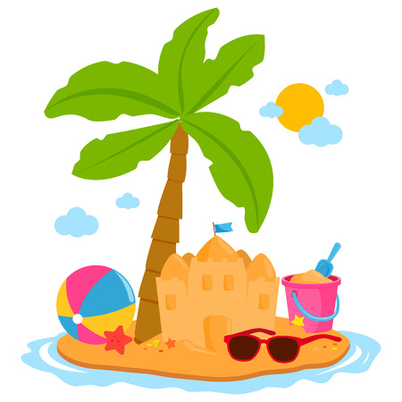 Summer vacation island with palm tree, a sandcastle and other beach toys. Illustration
