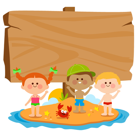Children with swimsuits on a summer island and blank wooden sign. Vector illustration