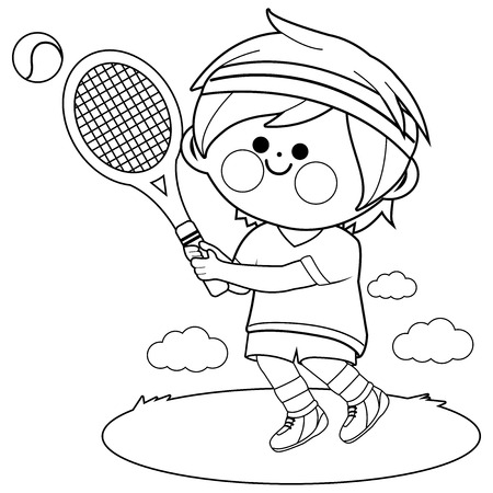 Boy playing tennis. Vector black and white coloring book page Standard-Bild - 120661750
