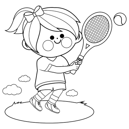 Girl playing tennis. Vector black and white coloring book page
