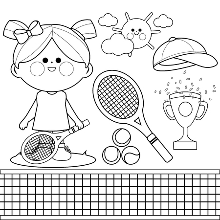 Tennis player girl. Vector black and white coloring book page