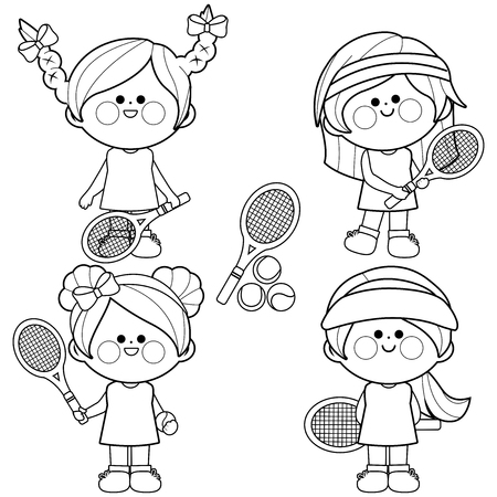 Group of girls tennis players. Black and white coloring book page Illustration
