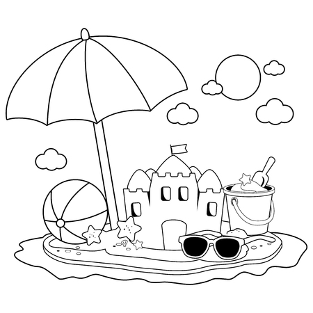 Summer vacation island with beach umbrella, a sandcastle and other beach toys. Black and white coloring book page Illustration