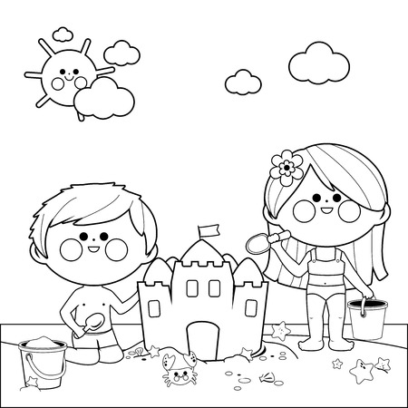 Children at the beach building a sandcastle. Black and white coloring book page Illustration