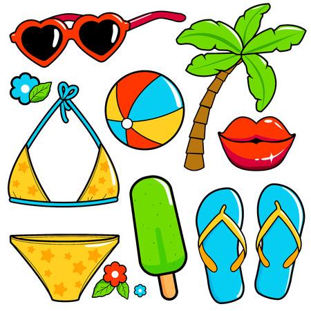 Beach summer vacation design elements. Vector illustration Stock Vector - 124171637
